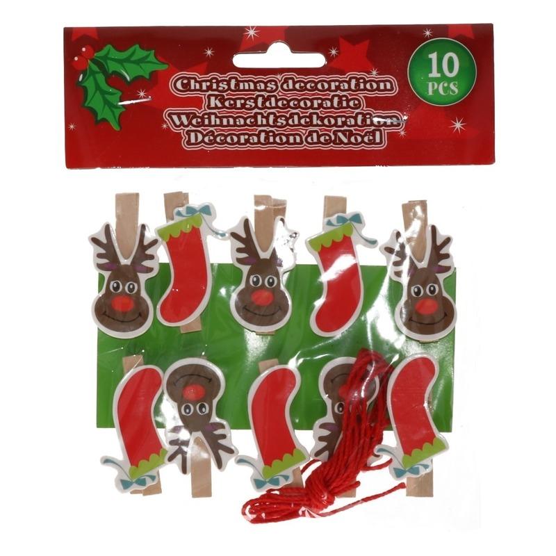 10x Houten Kerst knijpers rendier-kerstsok met koord
