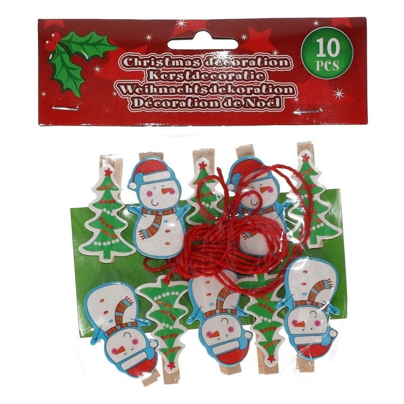 10x Houten Kerst knijpers sneeuwpop-kerstboom met koord