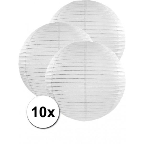 10x stuks witte luxe lampionnen van 50 cm