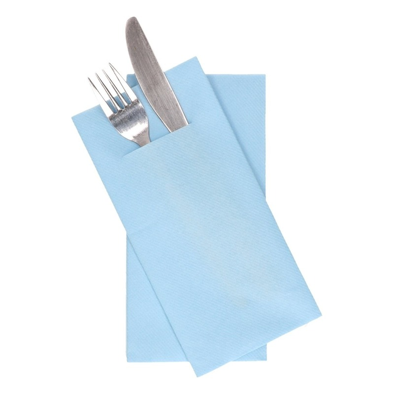 12x lichtblauwe servetten met bestek gleuf 40 cm
