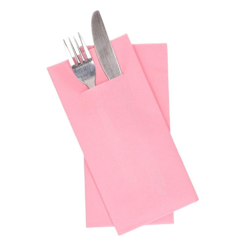 12x lichtroze servetten met bestek gleuf 40 cm