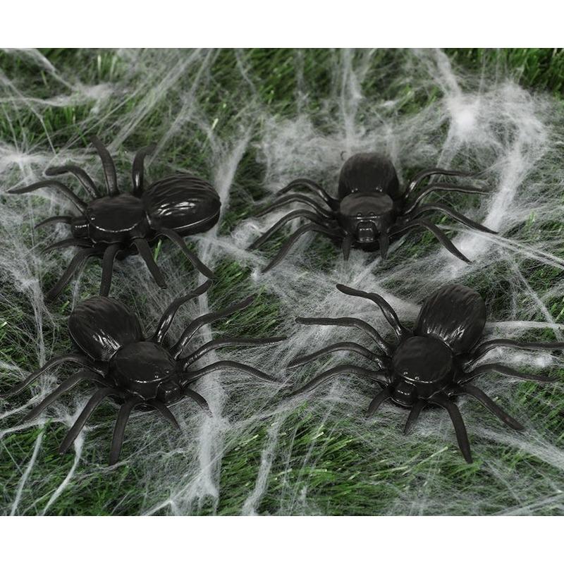 16x Plastic nep spinnen 10 cm Halloween decoratie