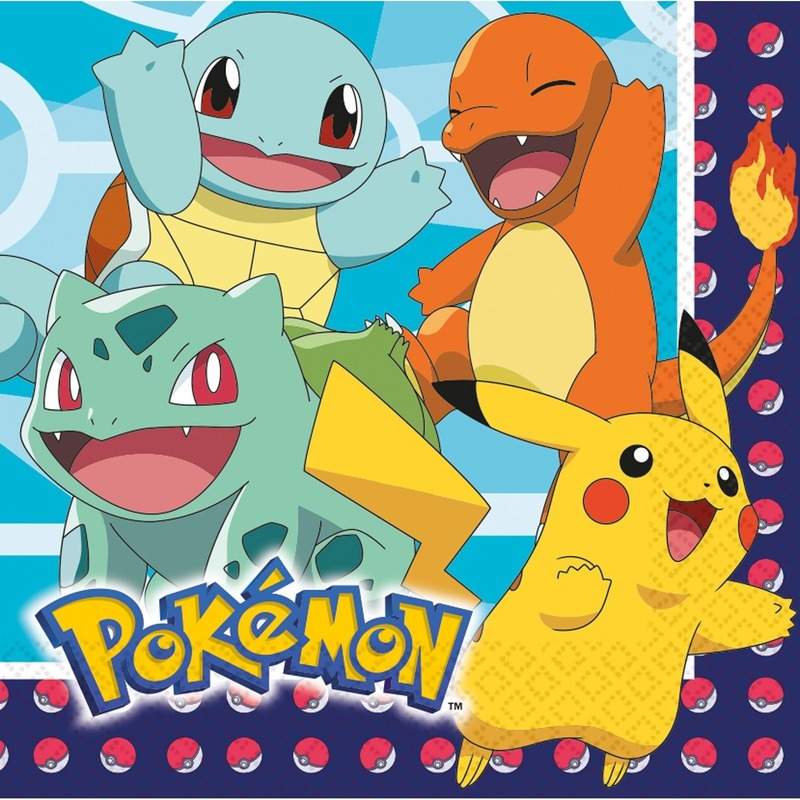 16x Pokemon themafeest servetten 33 x 33 cm