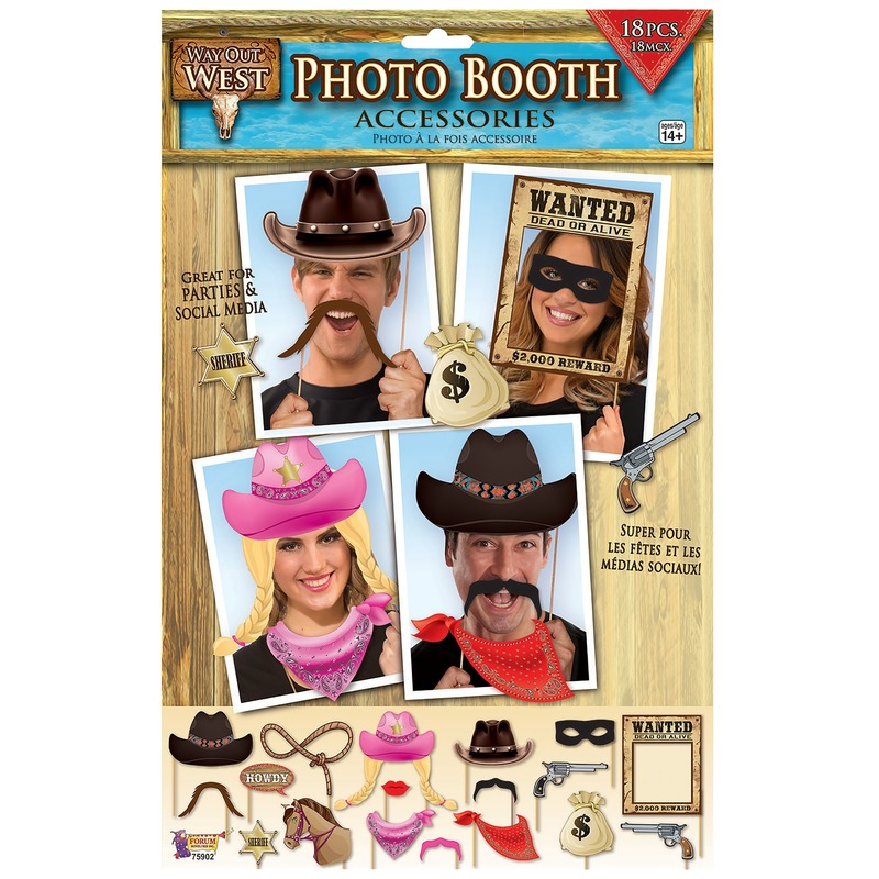 18x Foto props cowboy feestje