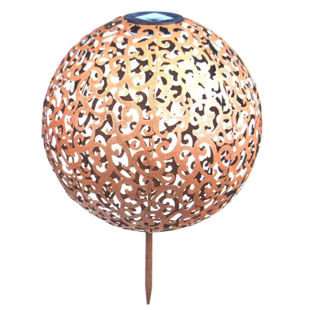 1x Buiten-tuin koperen decoratie bol solar verlichting 28,5 cm