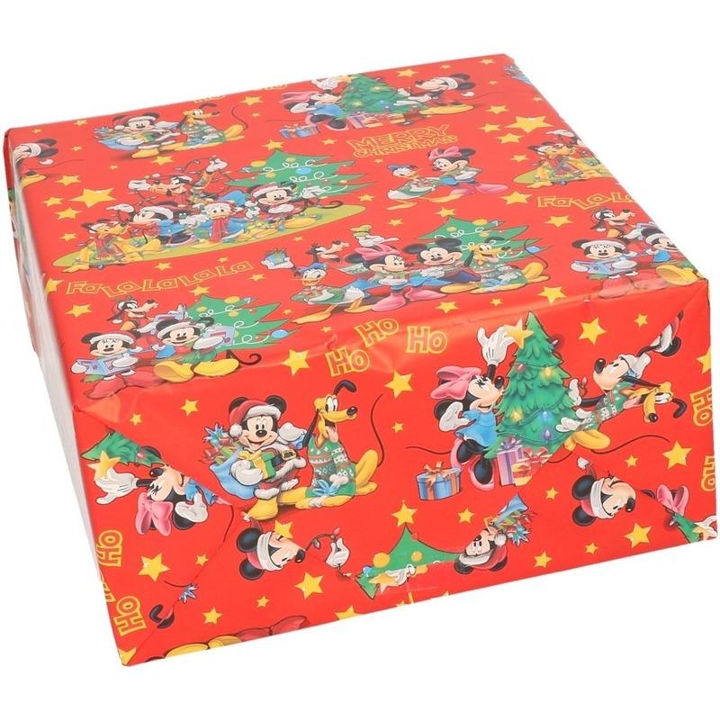 1x Disney Mickey Mouse kerst inpakpapier voor kinderen 70 x 200