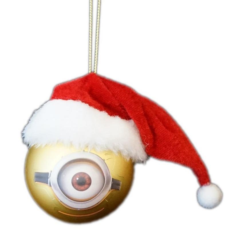 1x Kunststof kerstballen Minions Carl met Kerstmuts 6 cm
