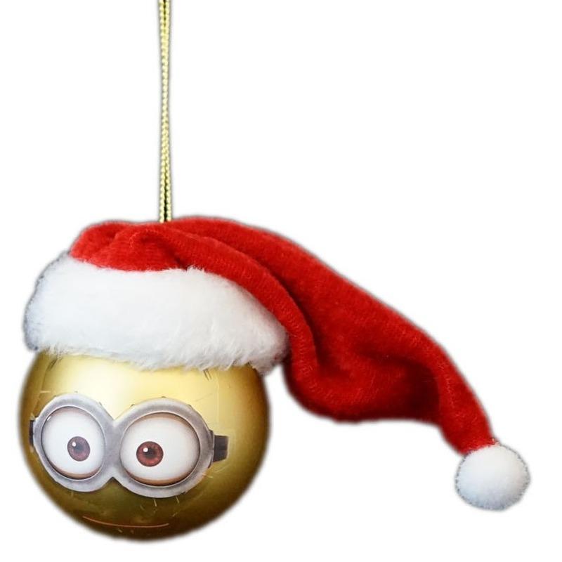 1x Kunststof kerstballen Minions Dave met Kerstmuts 6 cm