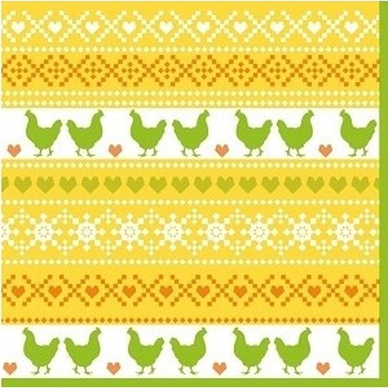 20x Pasen servetten kippen geel-oranje-groen 33 x 33 cm