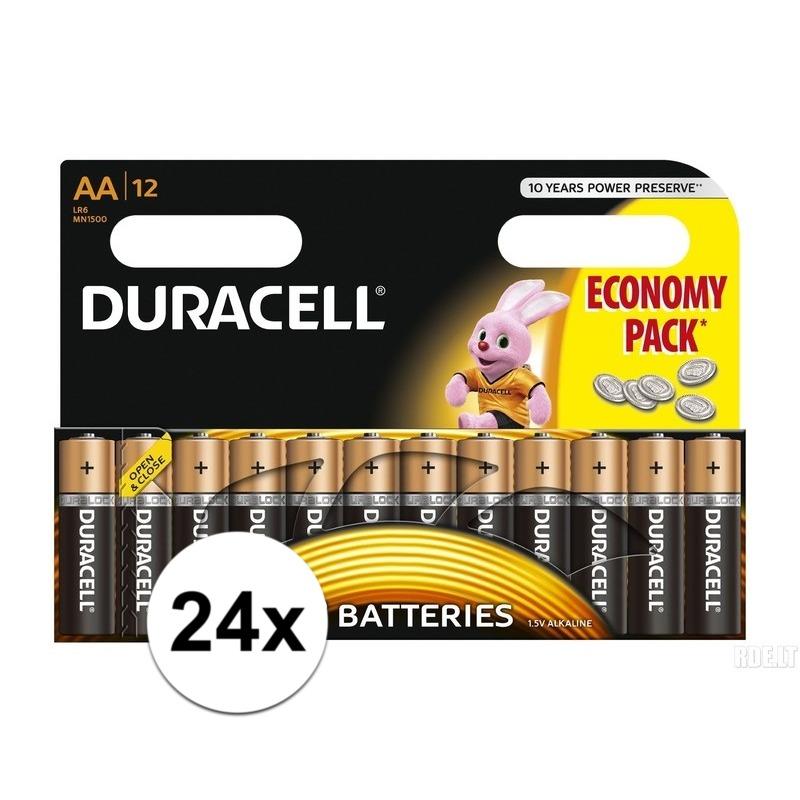 24x Duracell AA batterijen alkaline