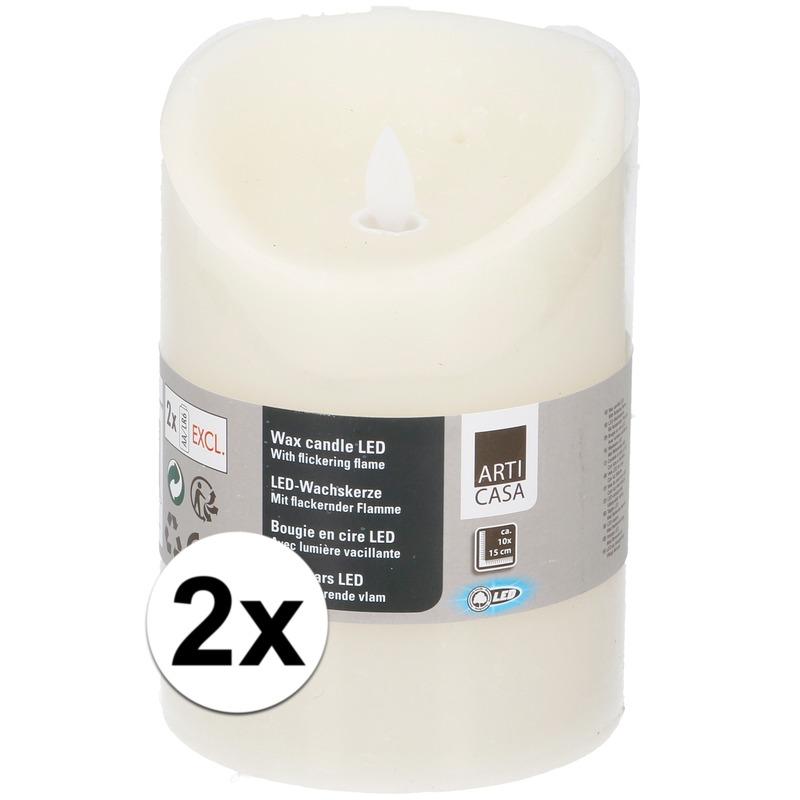 2x Creme LED kaarsen-stompkaarsen 10 cm