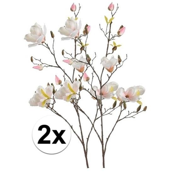 2x Creme Magnolia kunstbloemen tak 105 cm