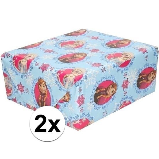 2x Disney inpakpapier-cadeaupapier Frozen lichtblauw 200 x 70 cm