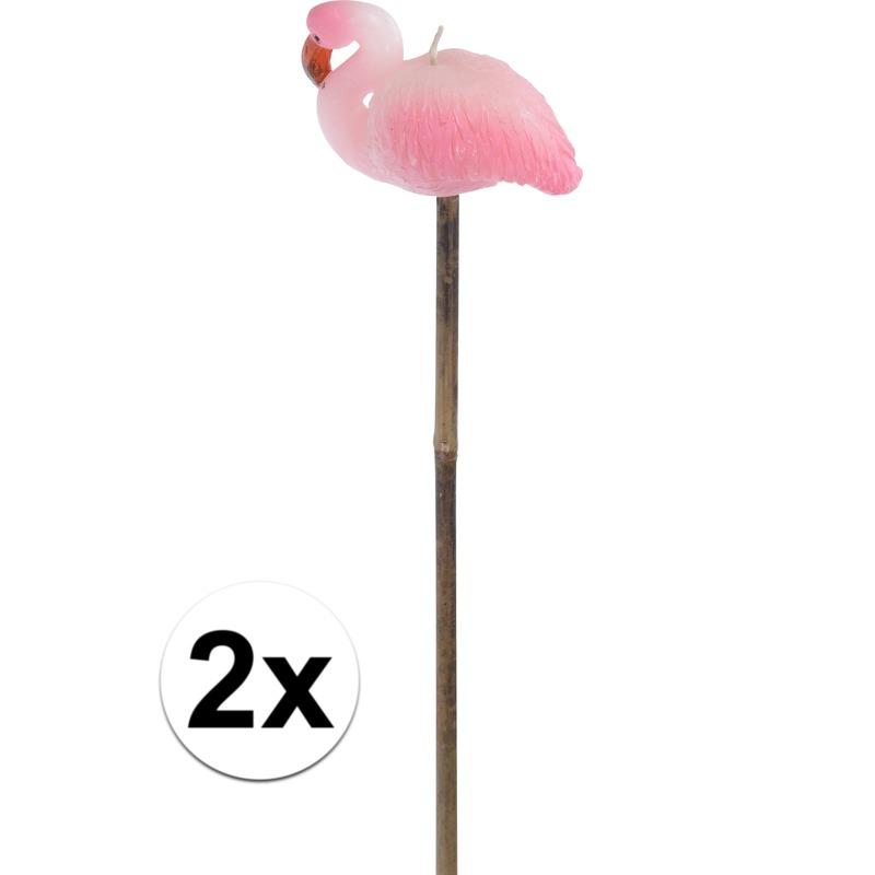 2x Flamingo tuinfakkels-kaarsen 60 cm
