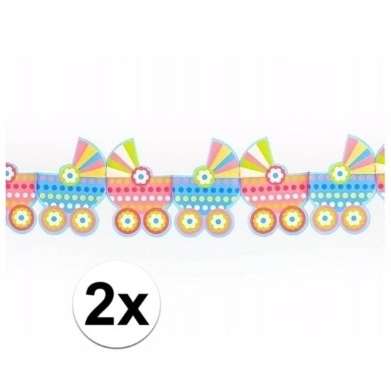 2x Geboorte slingers met kinderwagens 3 meter