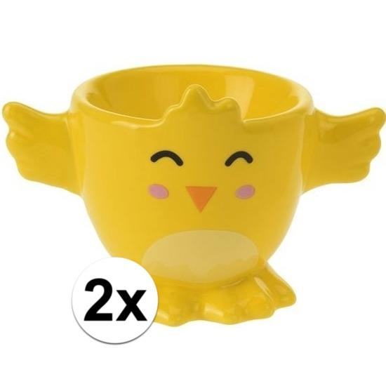 2x Gele kuiken-kippen eierdop 7 cm