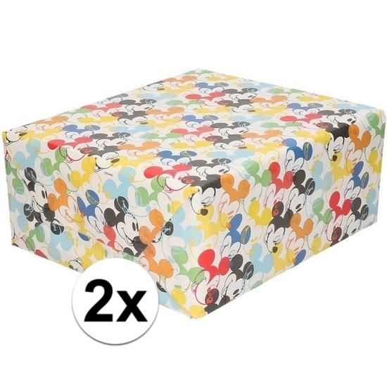 2x Inpakpapier-cadeaupapier Disney Mickey Mouse 200 x 70 cm