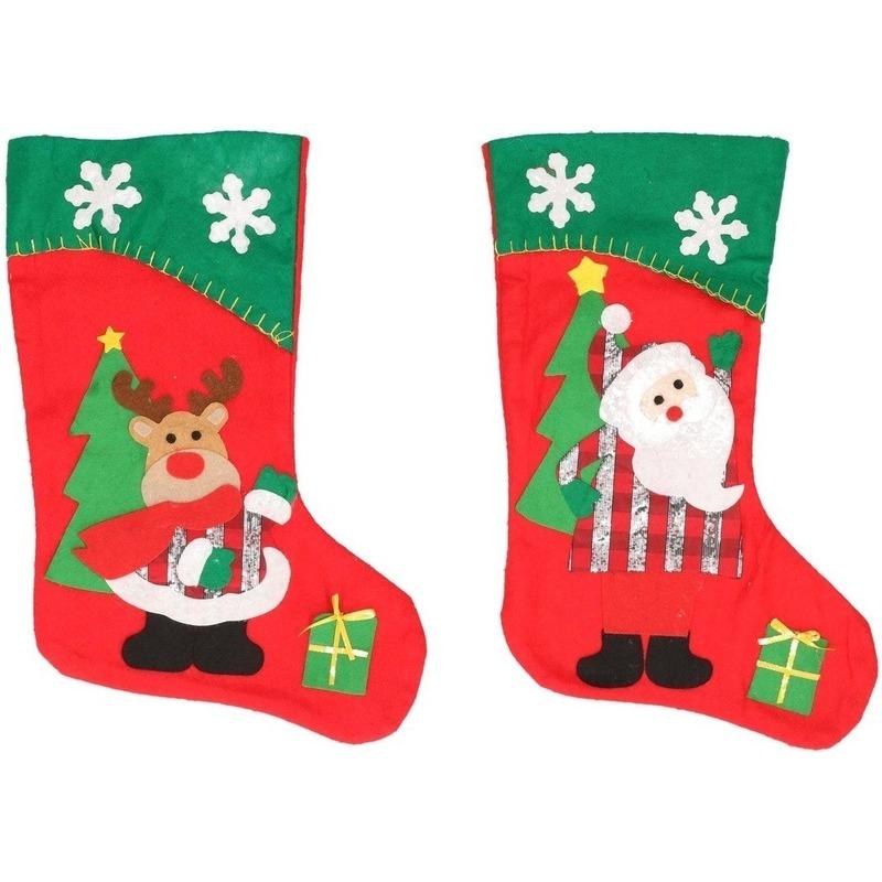2x Kerstsokken rendier en Kerstman rood-groen 45 cm decoratie-ve