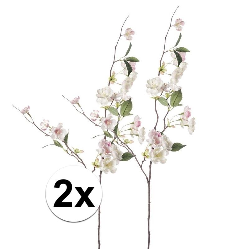 2x Roze perzikbloesem kunstbloemen tak 80 cm