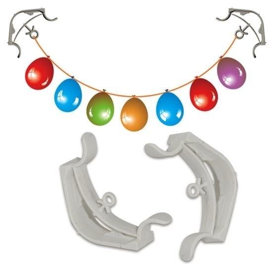 2x Slingers-decoratie ophangen hoekklemmen wit