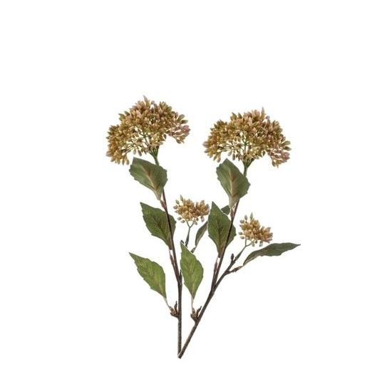 2x Vetkruid kunstbloem takken groen-oranje 62 cm