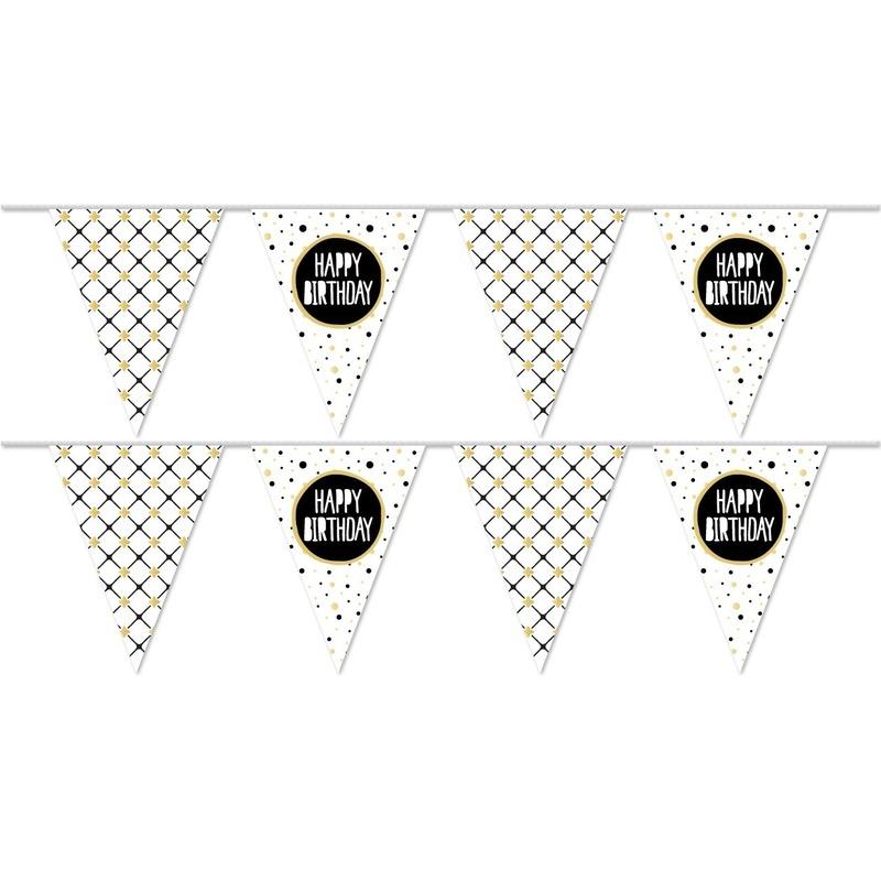 2x Vlaggenlijnen Happy Birthday metallic feest slinger 10 meter