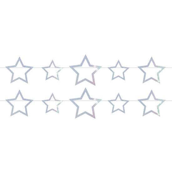 2x Vlaggenlijnen met sterren holografische slingers 4 meter