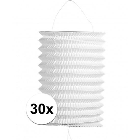 30x stuks witte trek lampionnen van 16 cm