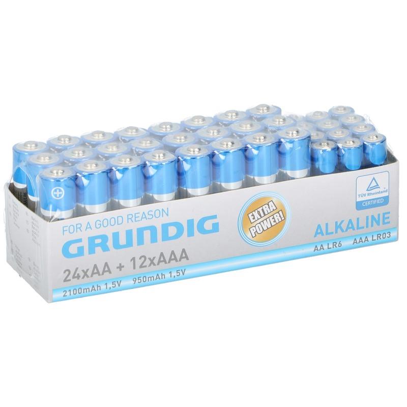 36x Grundig AA en AAA batterijen alkaline