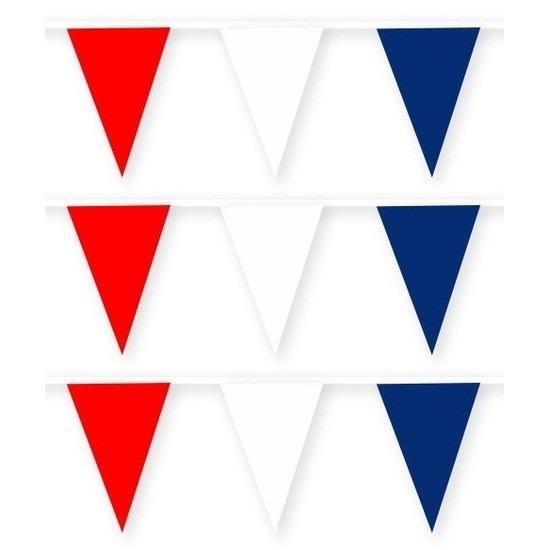 3x Amerika-USA stoffen vlaggenlijnen-slingers 10 meter katoen