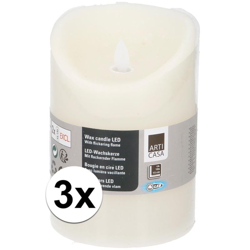 3x Creme LED kaarsen-stompkaarsen 10 cm