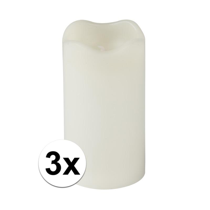 3x Creme LED kaarsen-stompkaarsen 13 cm