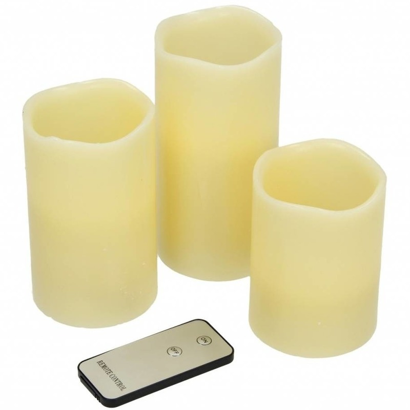 3x Creme LED stompkaarsen met afstandsbediening