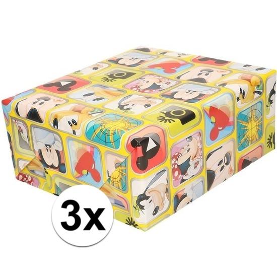 3x Disney inpakpapier-cadeaupapier Mickey Mouse 200 x 70 cm rol