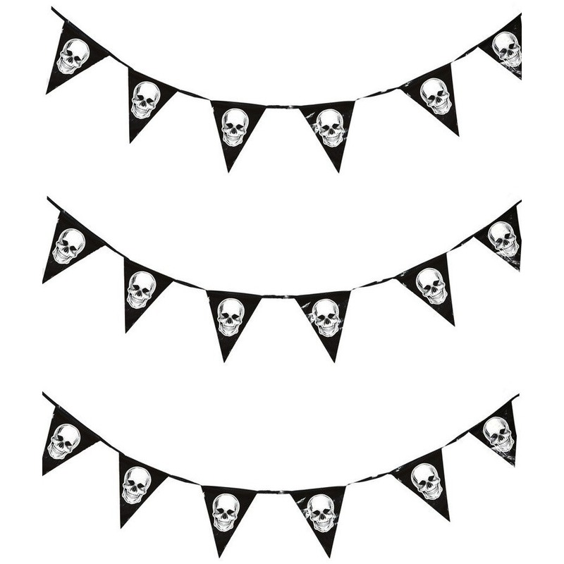 3x Horror schedel vlaggenlijn-slinger 360 cm Halloween decoratie