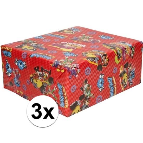 3x Inpakpapier-cadeaupapier Disney Mickey Mouse 200 x 70 cm rood