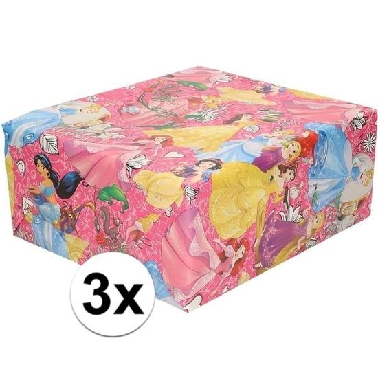 3x Inpakpapier-cadeaupapier Disney Princess 200 x 70 cm roze