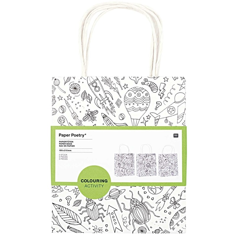 3x Knutsel papieren tassen-tasjes om in te kleuren voor kinderen