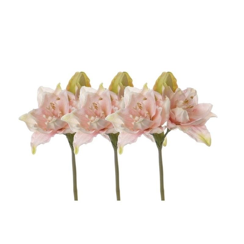 3x Kunstbloemen amaryllis roze 41 cm
