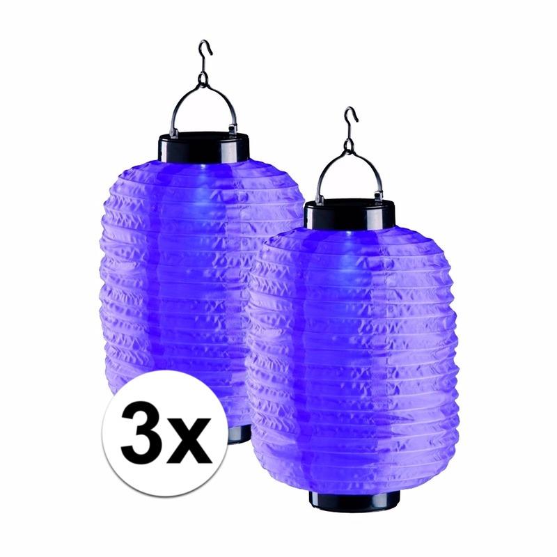 3x paarse solar lampionnen 35 cm