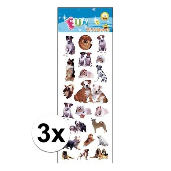 3x Stickervel hondjes & honden
