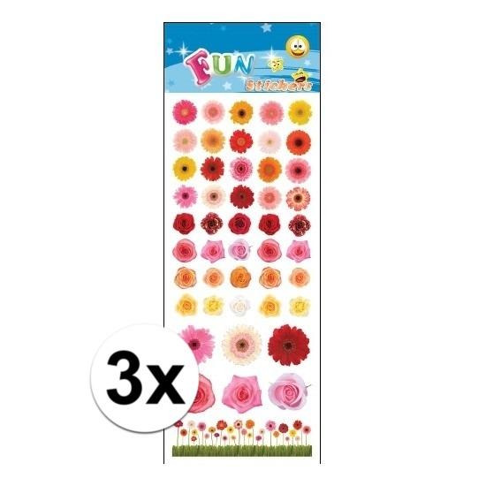 3x Stickervellen bloemen