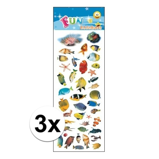 3x Stickervellen tropische vissen