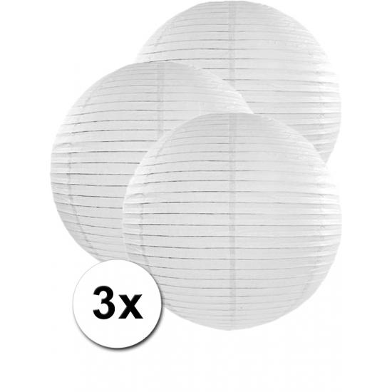 3x stuks witte luxe lampionnen van 50 cm