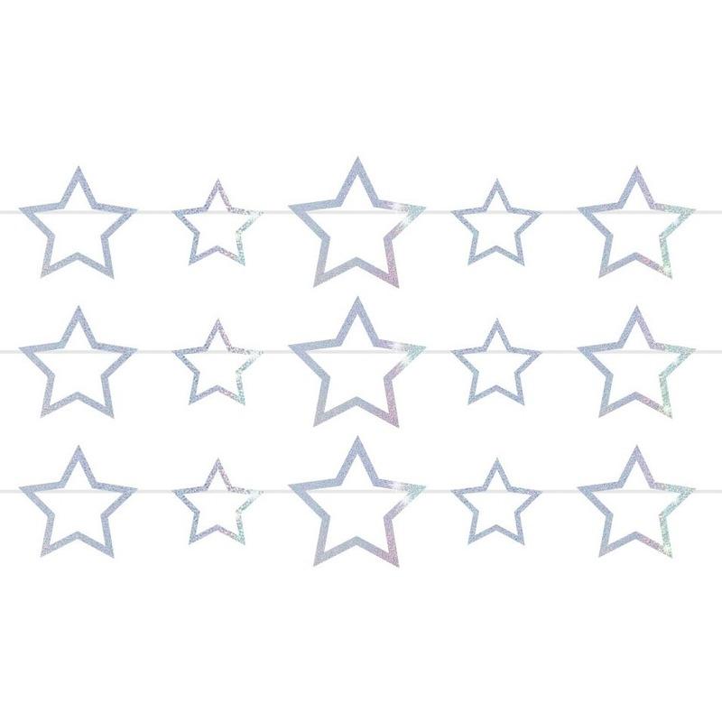 3x Vlaggenlijnen met sterren holografische slingers 4 meter