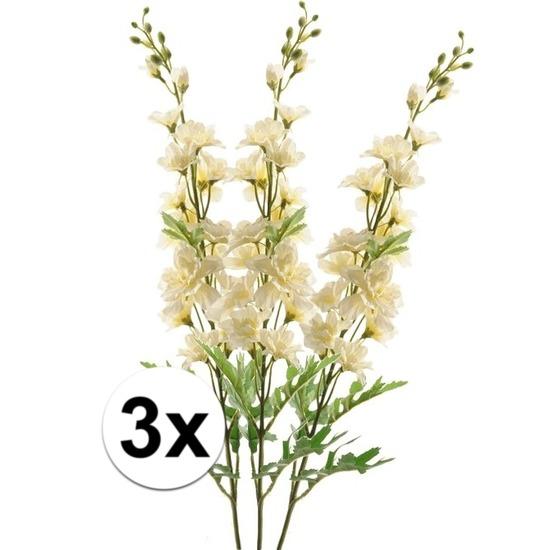 3x Witte Ridderspoor kunstbloemen tak 70 cm
