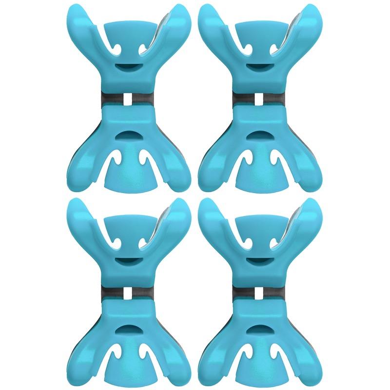 4x Slingers-decoratie ophangen slingerklemmen blauw
