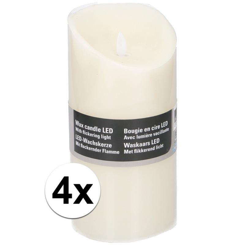 4x Witte LED kaarsen-stompkaarsen 19,5 cm