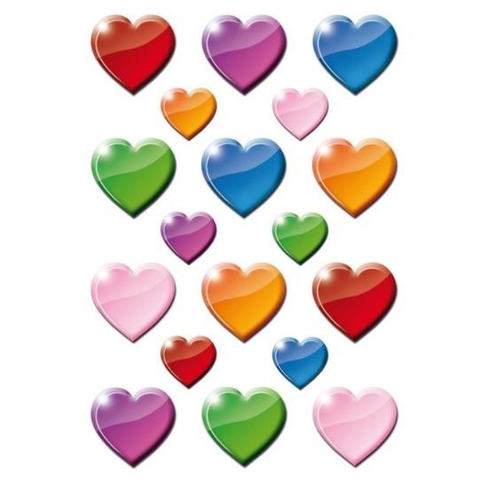 54x Gekleurde hartjes figuren stickers