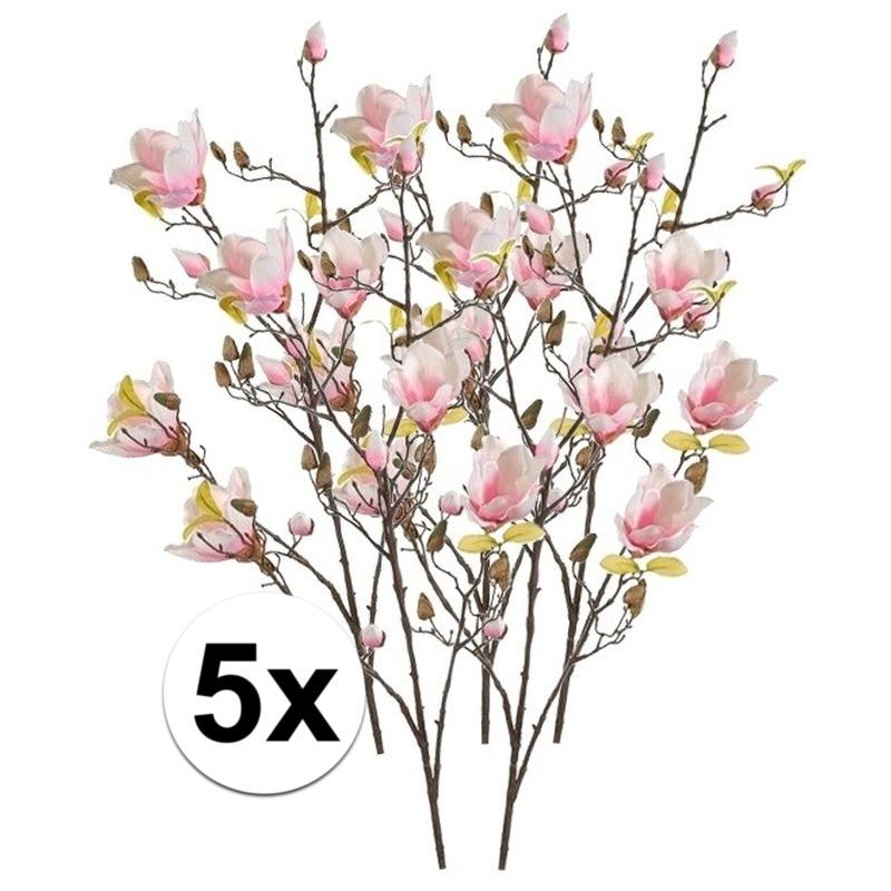 5x Roze Magnolia kunstbloemen tak 105 cm